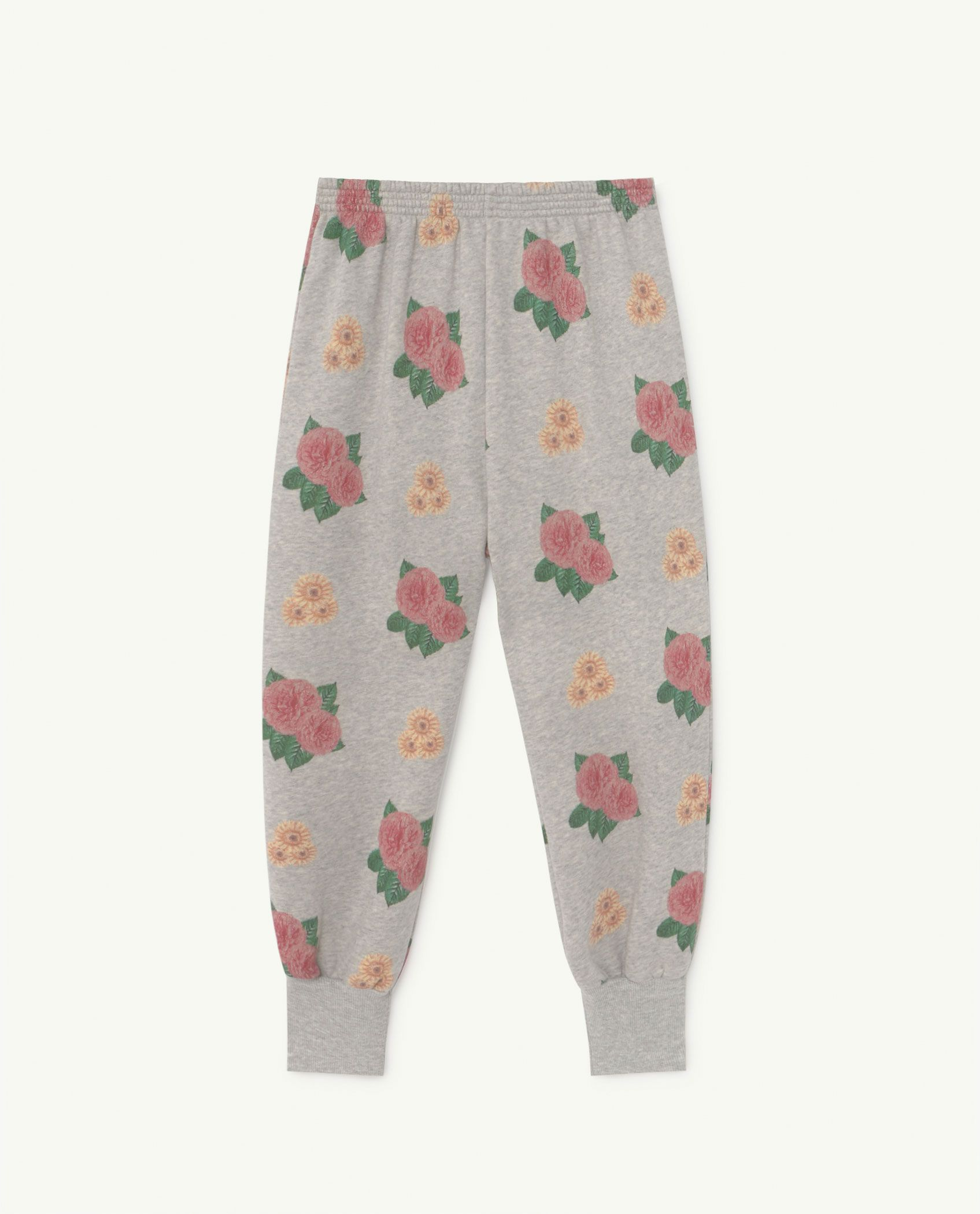 Grey Flowers Dromedary Jersey Pants img-1
