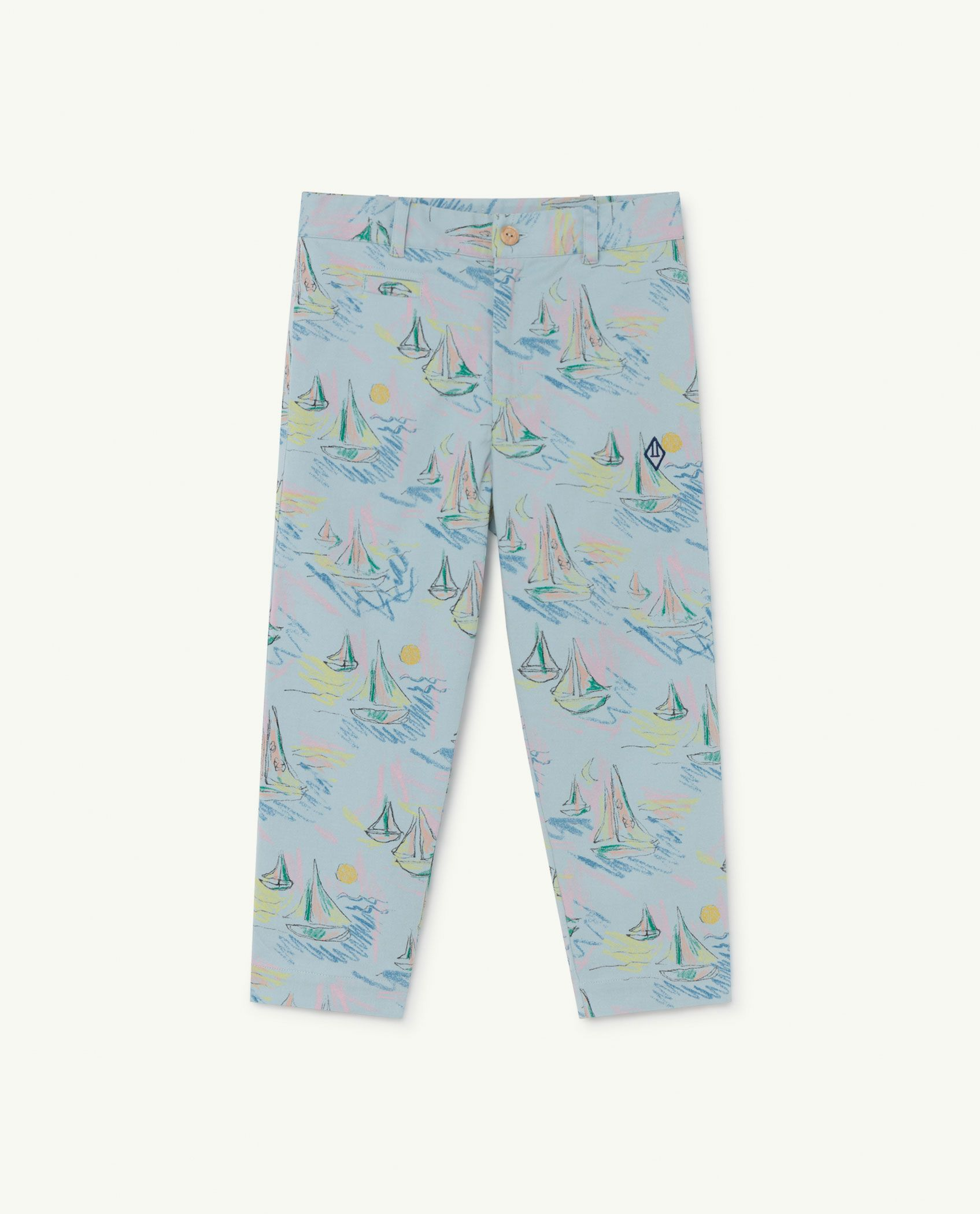 Soft Blue Boats Camel Trousers img-1