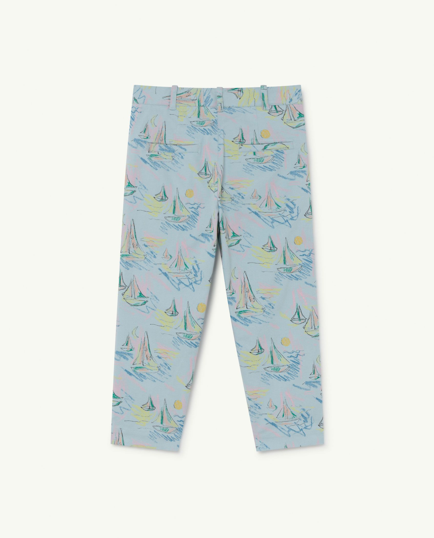 Soft Blue Boats Camel Trousers img-2