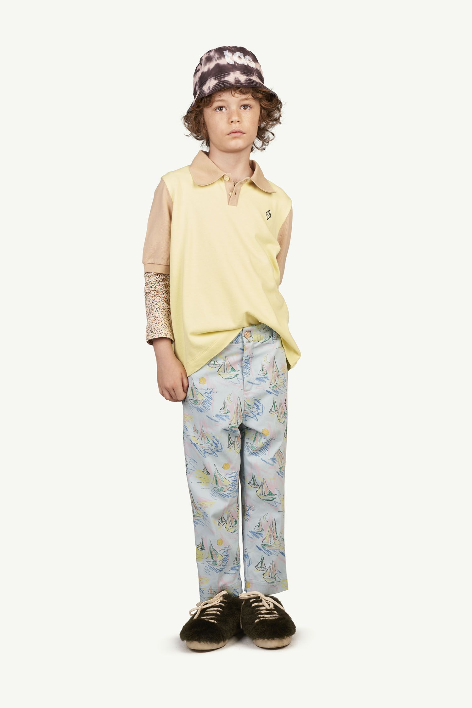 Soft Blue Boats Camel Trousers img-4