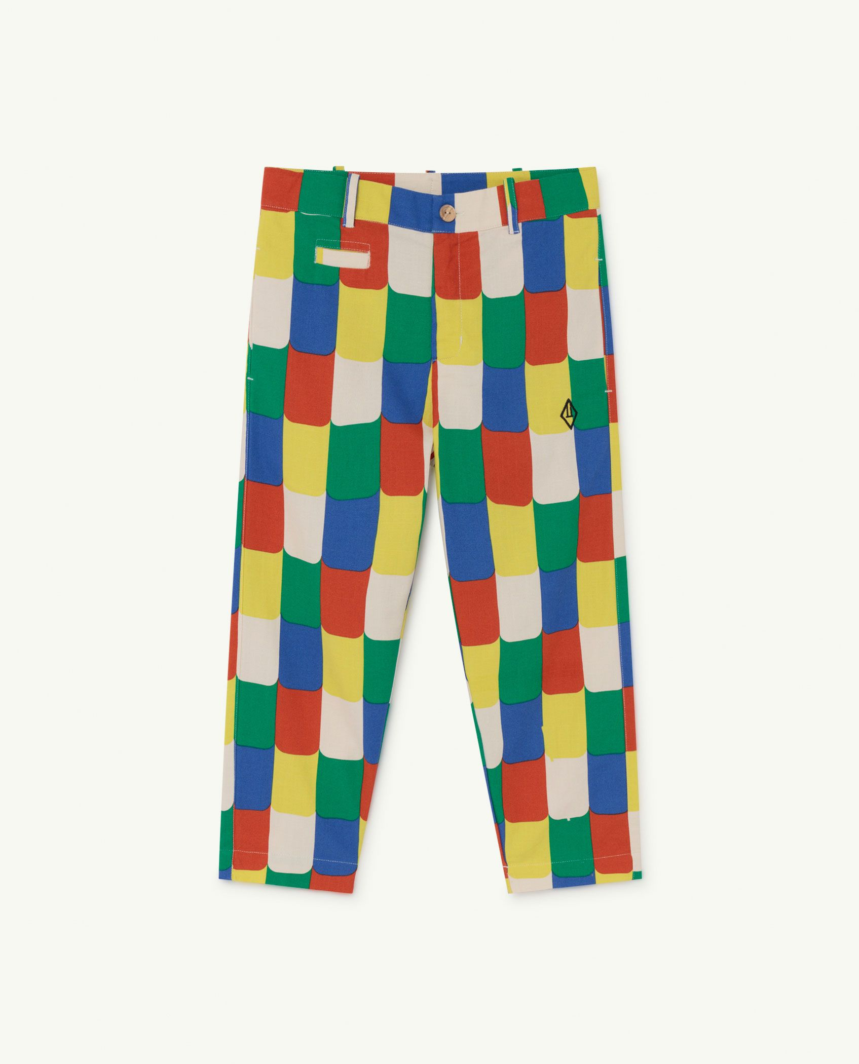 White Multicolor Camel Trousers img-1