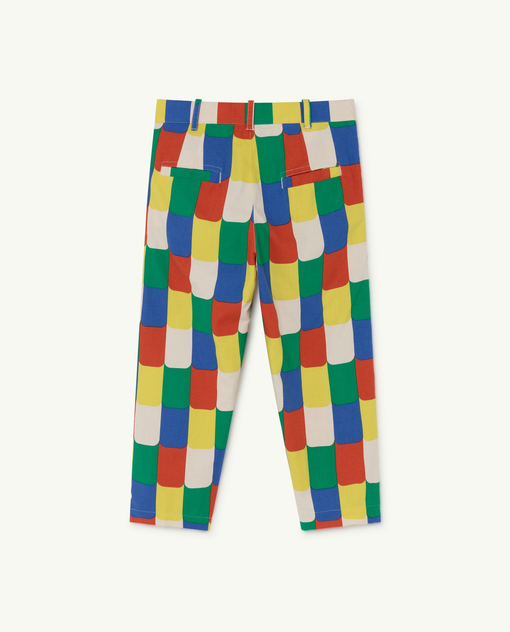 White Multicolor Camel Trousers img-2