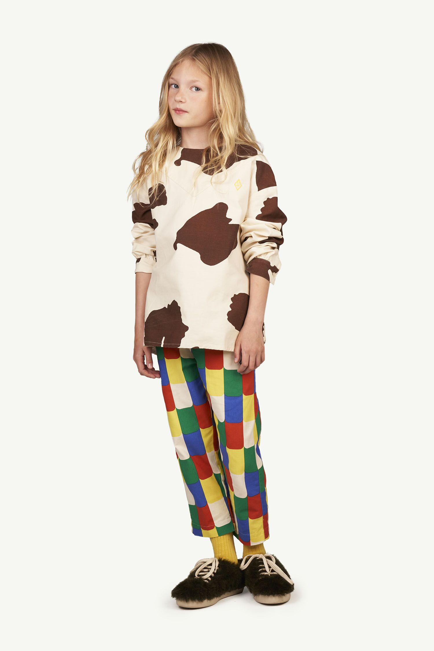 White Multicolor Camel Trousers img-4