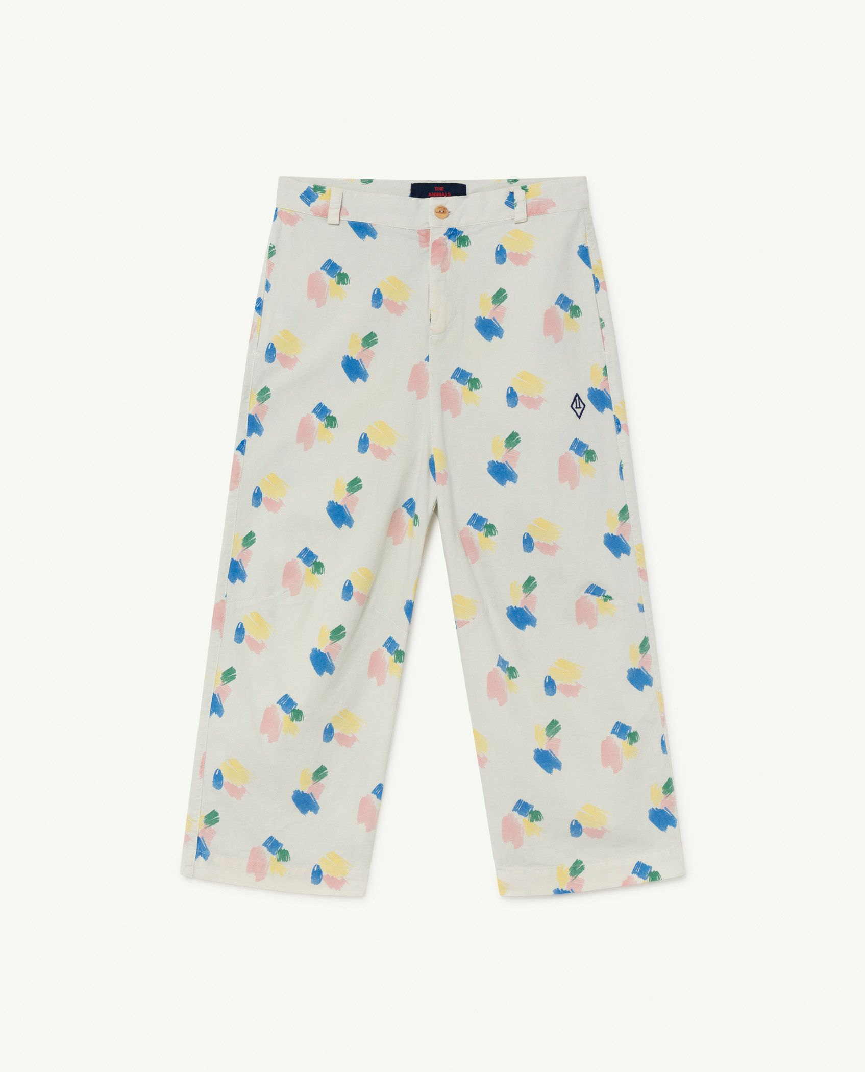 White Strokes Camel Trousers img-1