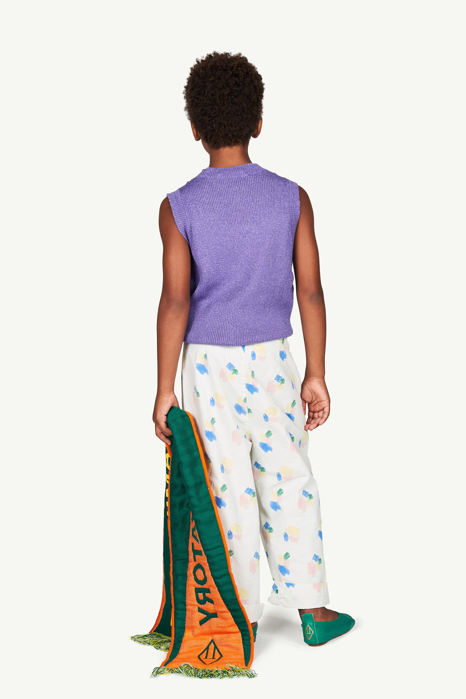 White Strokes Camel Trousers img-6