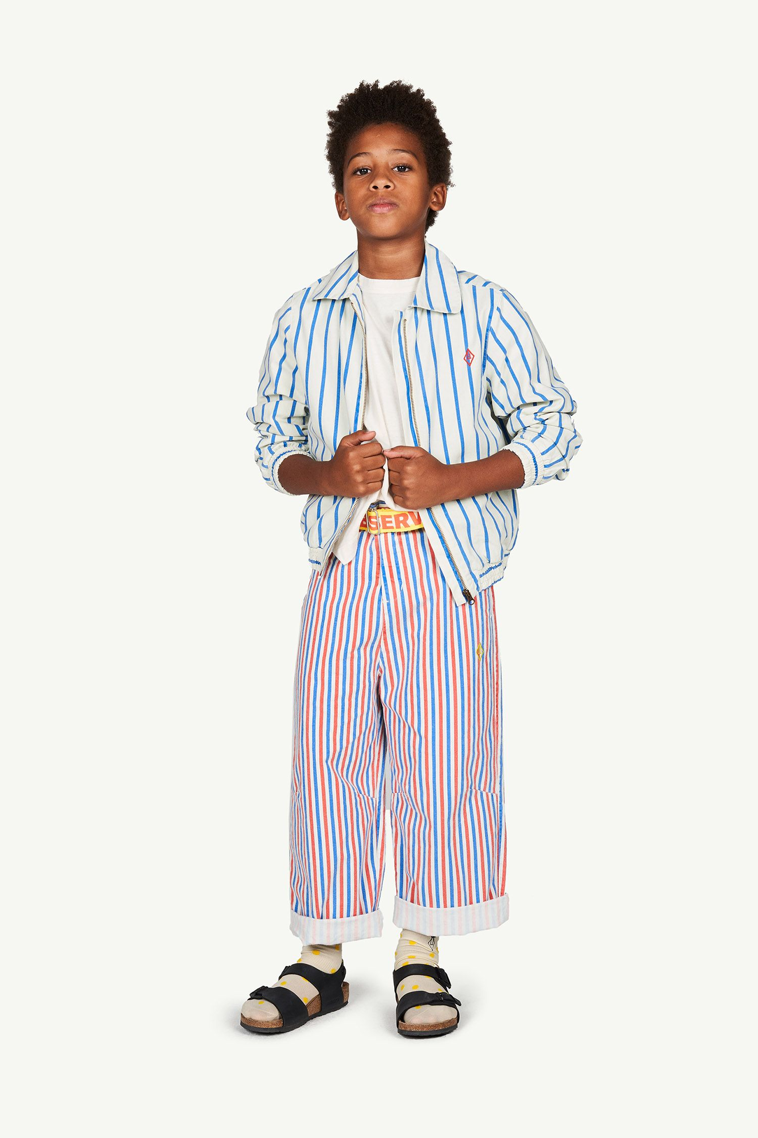 White Stripes Camel Trousers img-4