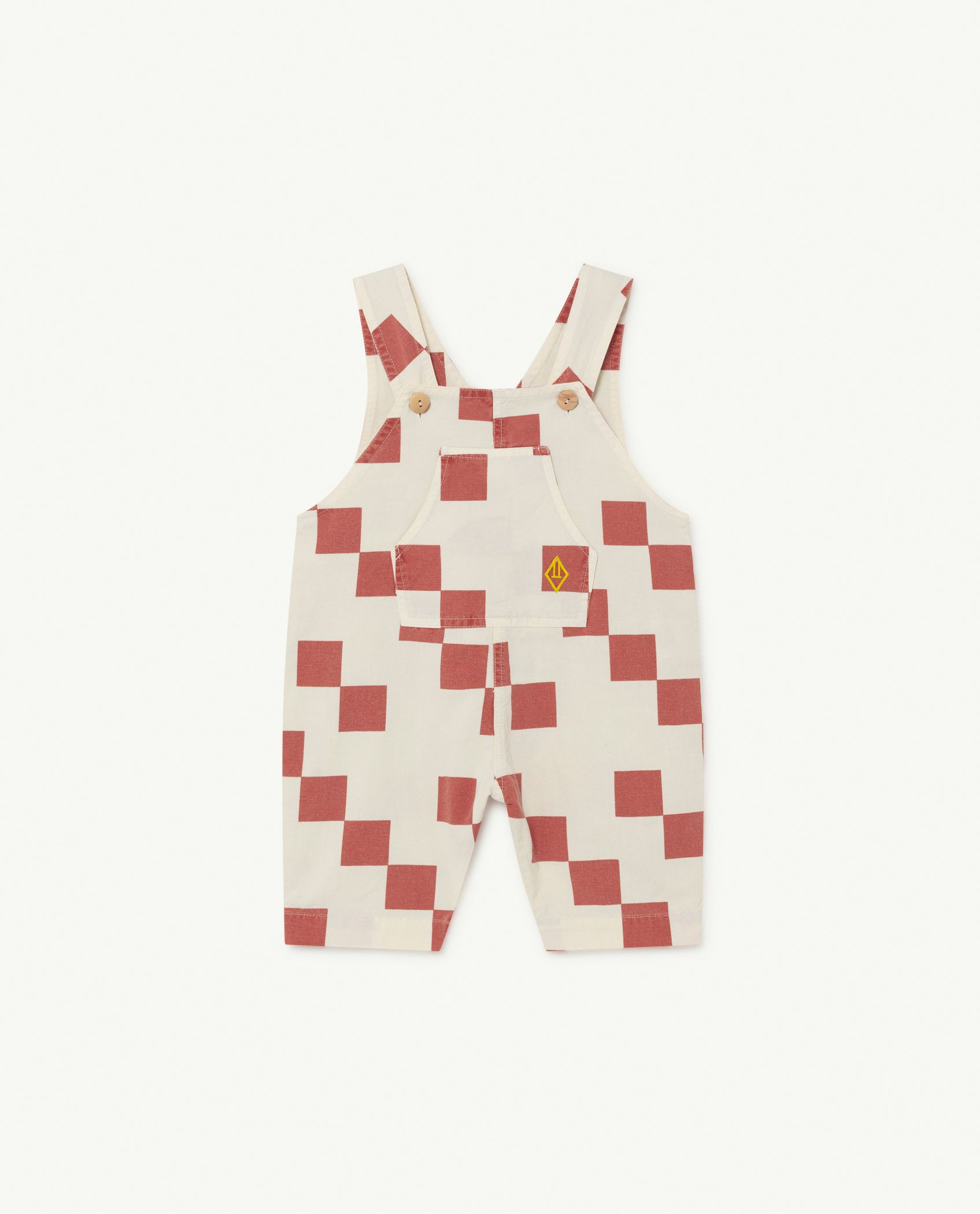 White and Red Squares Mammoth Baby Jumpsuit img-1