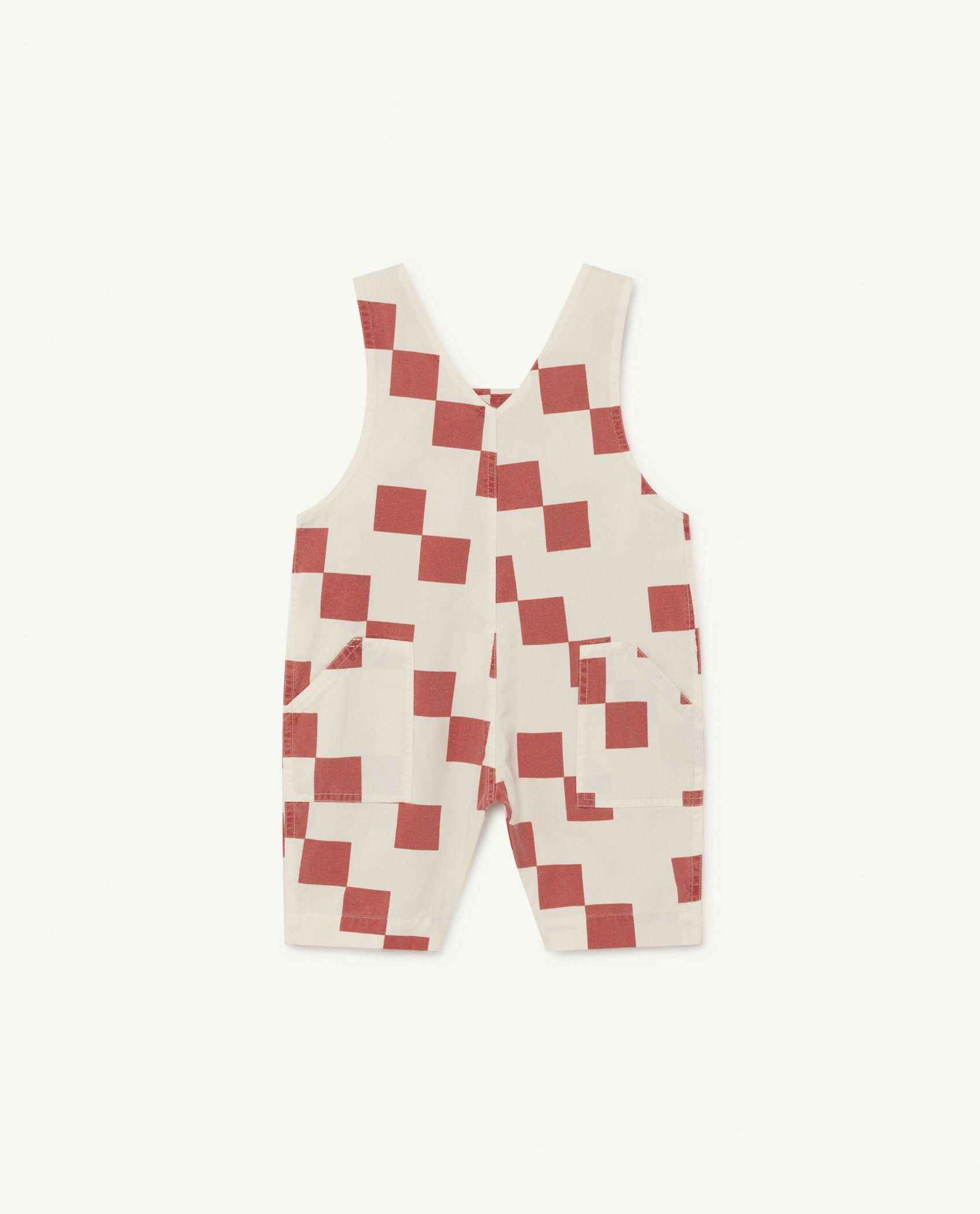 White and Red Squares Mammoth Baby Jumpsuit img-2