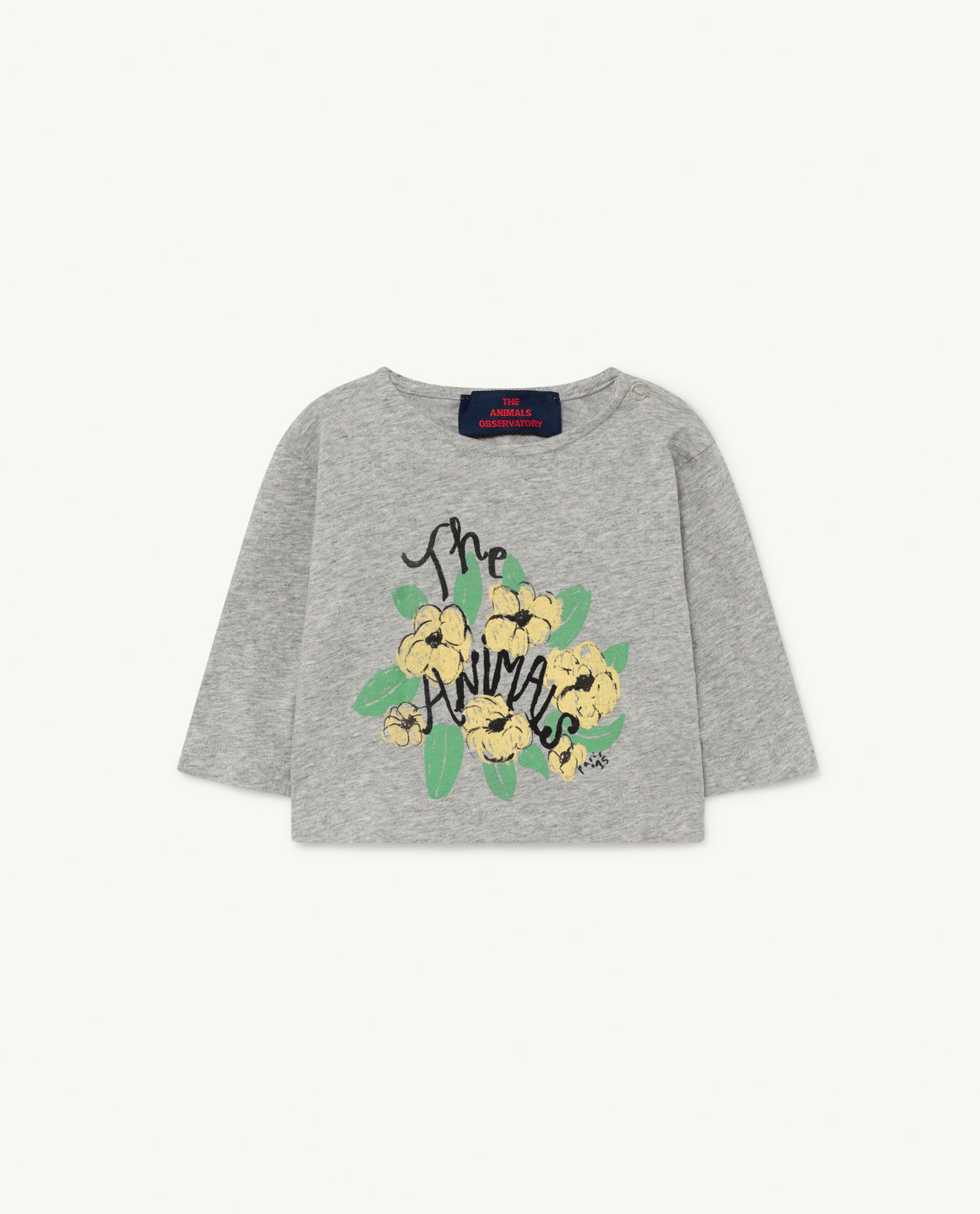 Grey Flowers Anteater Baby T-shirt img-1