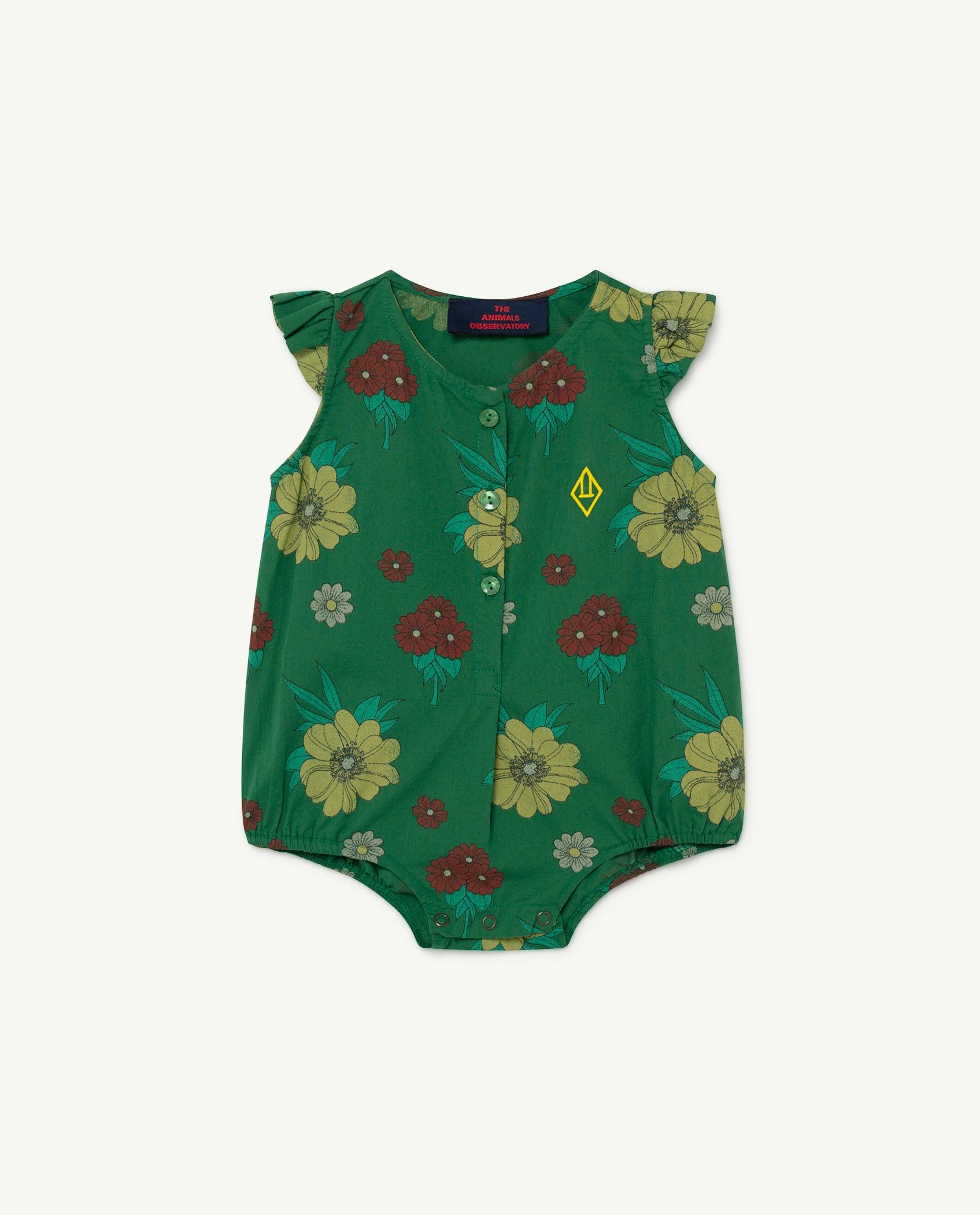 Green Flowers Butterfly Baby Body img-1