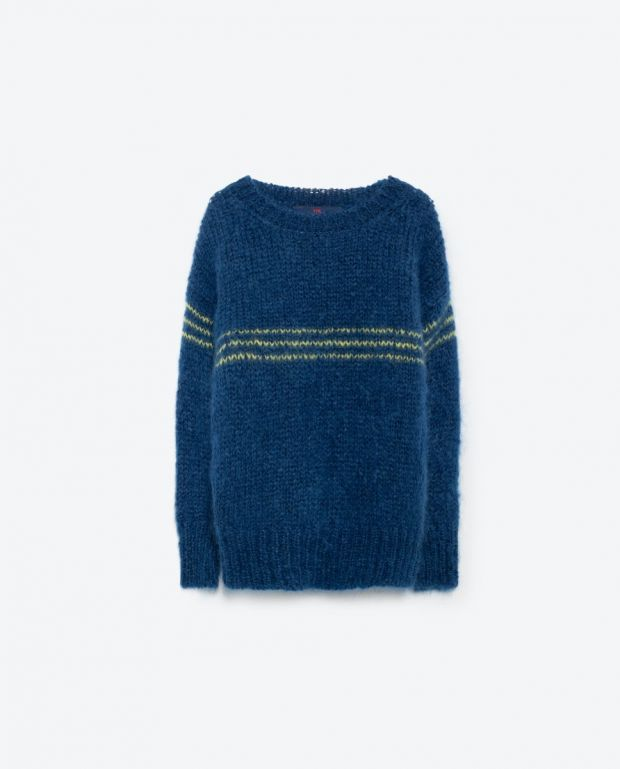 Blue Stripes Bull Knit Sweater