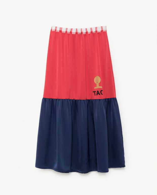 Red Blue Ladybug Long Skirt