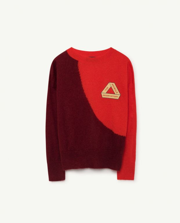 Red Bicolor Bull Sweater
