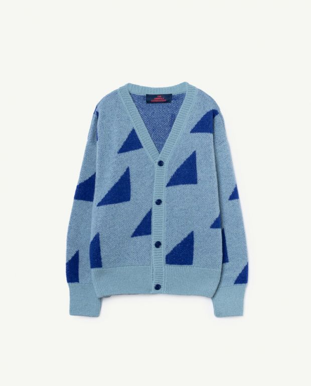 Blue Geometric Peasant Cardigan