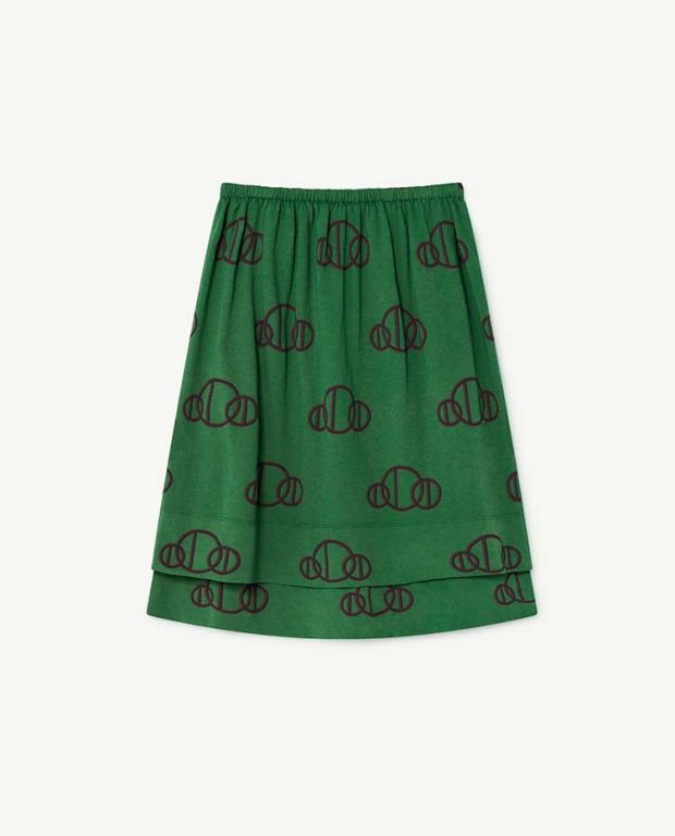 Green Circles Kitten Skirt
