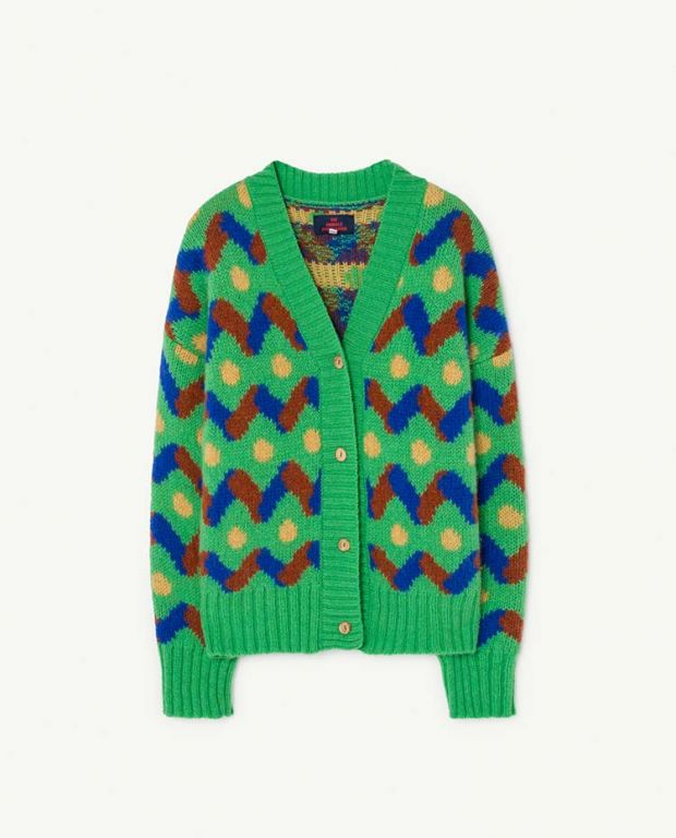 Green Multicolor Racoon Cardigan