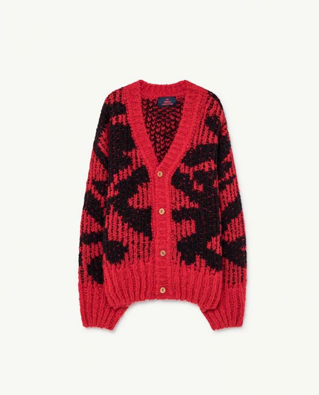 Red Arty Racoon Cardigan