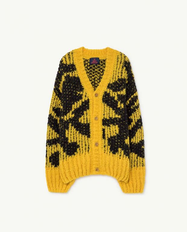 Yellow Arty Racoon Cardigan