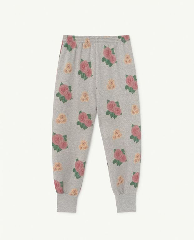 Grey Flowers Dromedary Jersey Pants