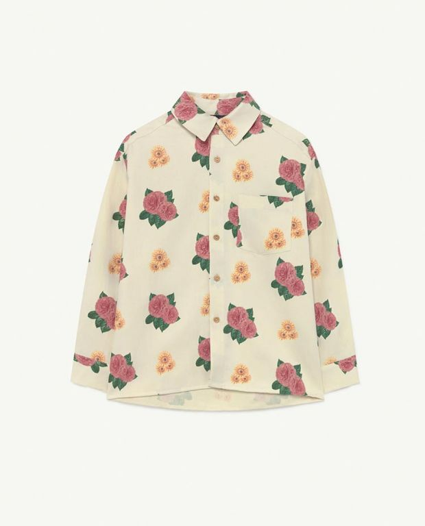White Flowers Wolf Woven Shirt
