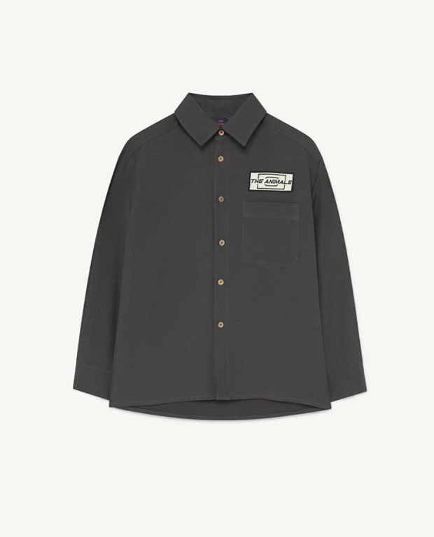 Black Animals Wolf Woven Shirt