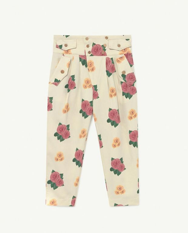 White Flowers Camel Bottoms