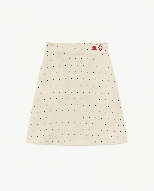 White Dots Swan Twill Skirt