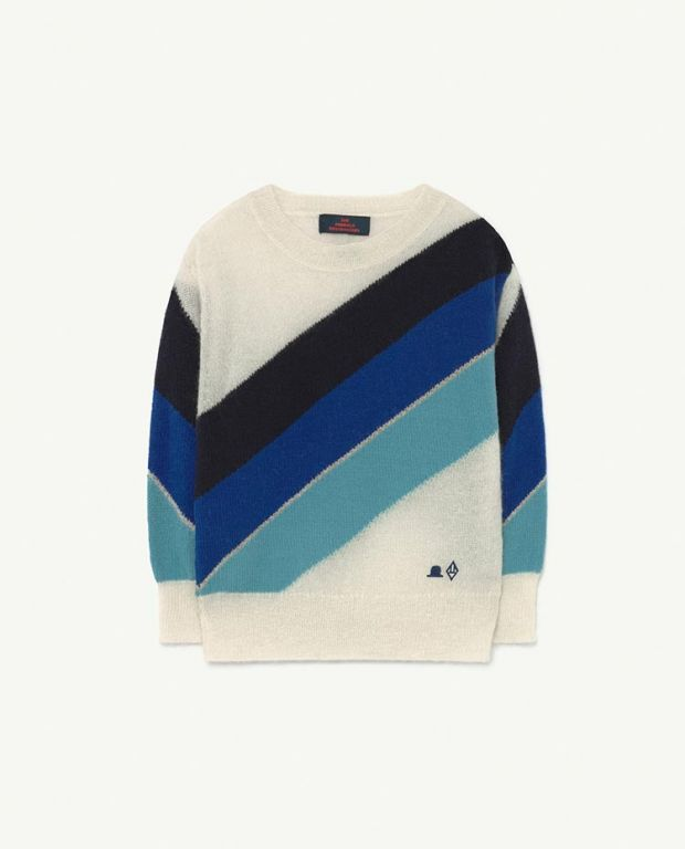 White Hat Stripes Bull Knit