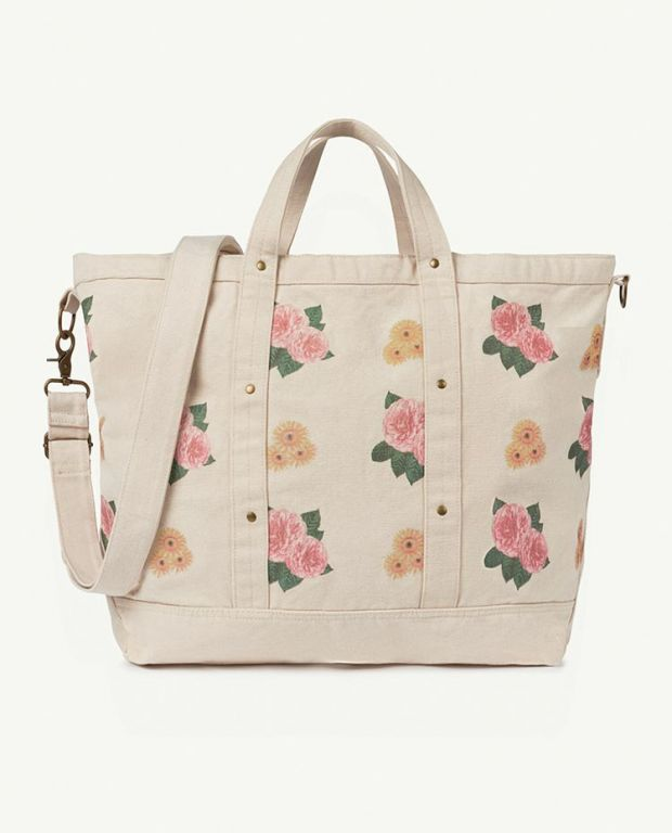 Big White Flowers Canvas Bag