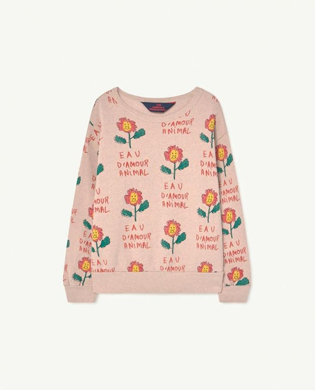 Recycled Soft Pink Flowers Bear Sweatshirt