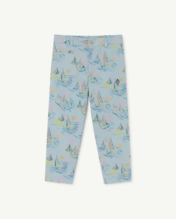 Soft Blue Boats Camel Trousers