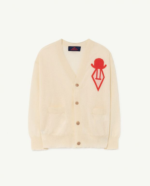 Raw White Racoon Cardigan