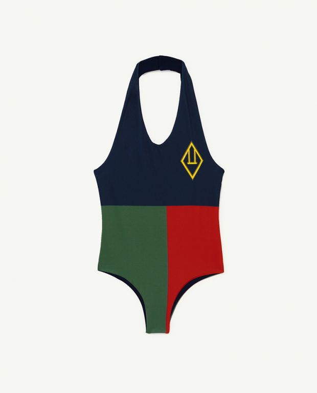 Navy Squares Fish Swimsuit