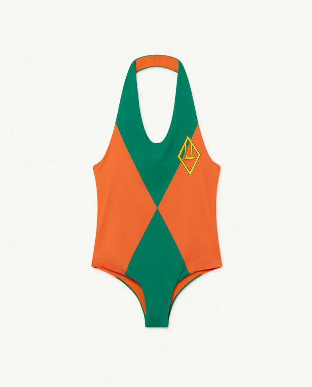 Orange Triangles Fish Swimsuit