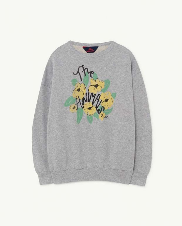 Grey Flowers Big Bear Sweatshirt
