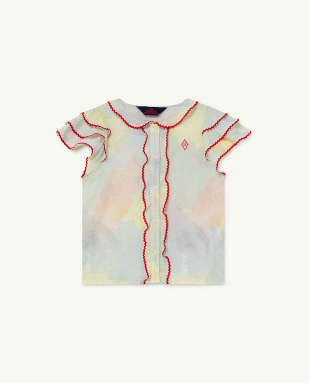 Multicolor Watercolor Parakeet Blouse