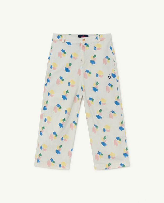 White Strokes Camel Trousers