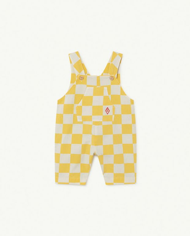 White and Yellow Squares Mammoth Baby Jumpsuit