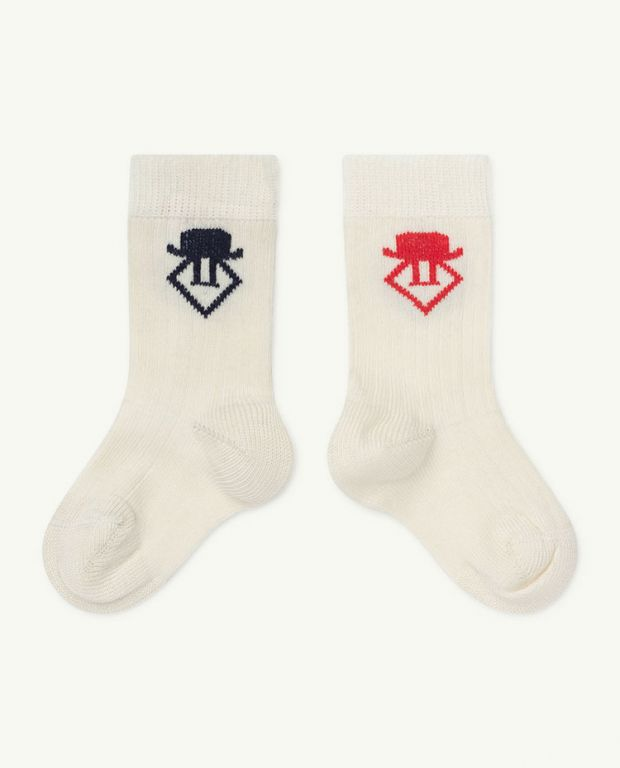 Raw White Worm Baby Socks