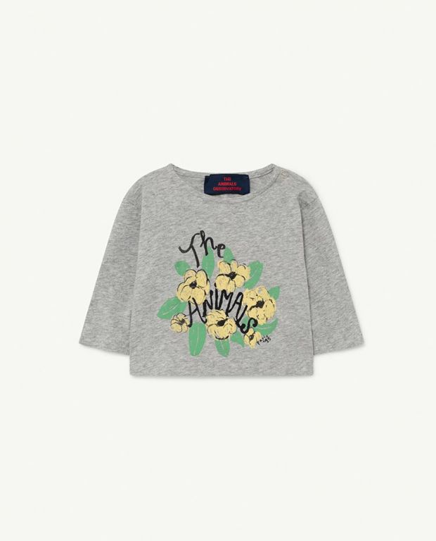 Grey Flowers Anteater Baby T-shirt