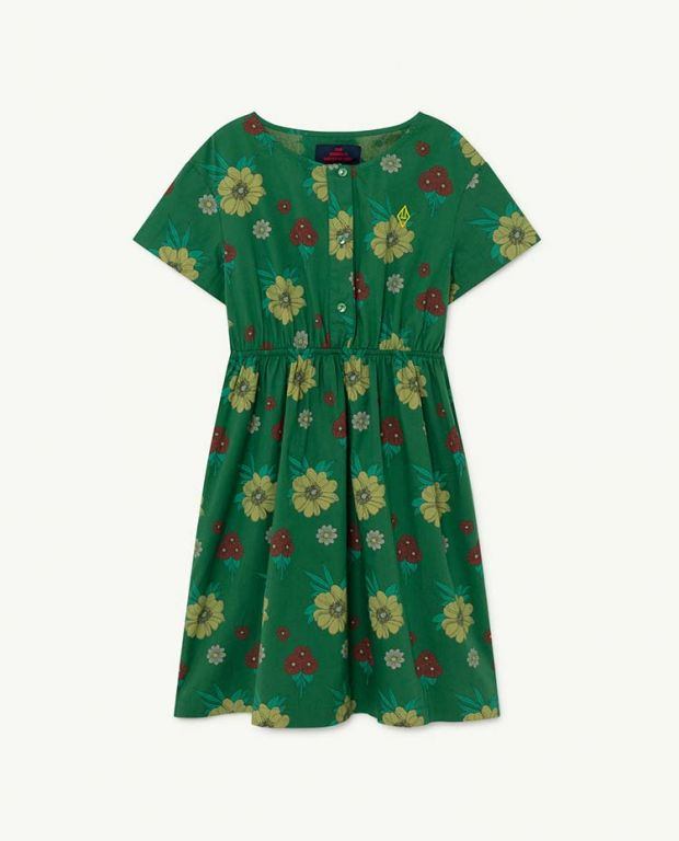 Green Flowers Dolphin Dress